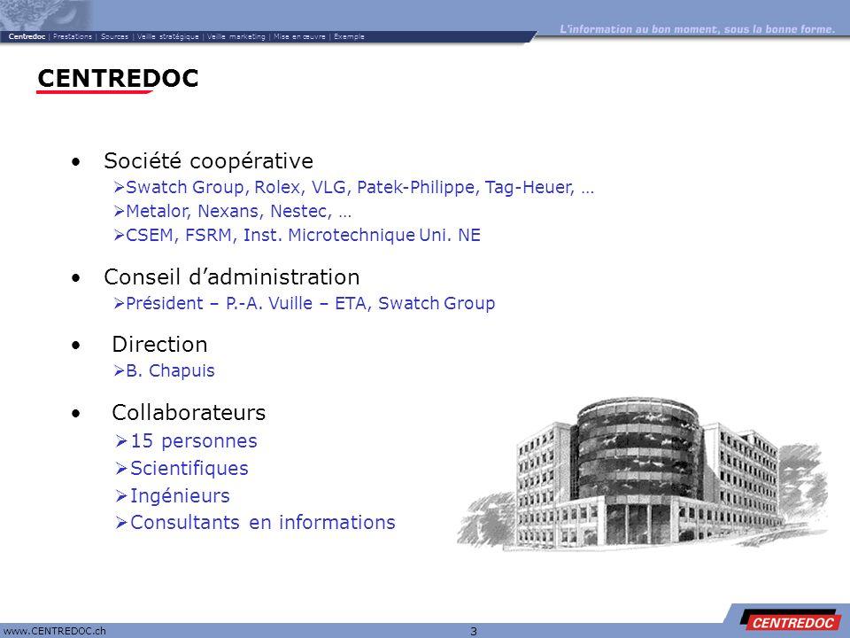 Titre www.CENTREDOC.ch 3 CENTREDOC Collaborateurs 15 personnes Scientifiques Ingénieurs Consultants en informations Société coopérative Swatch Group,