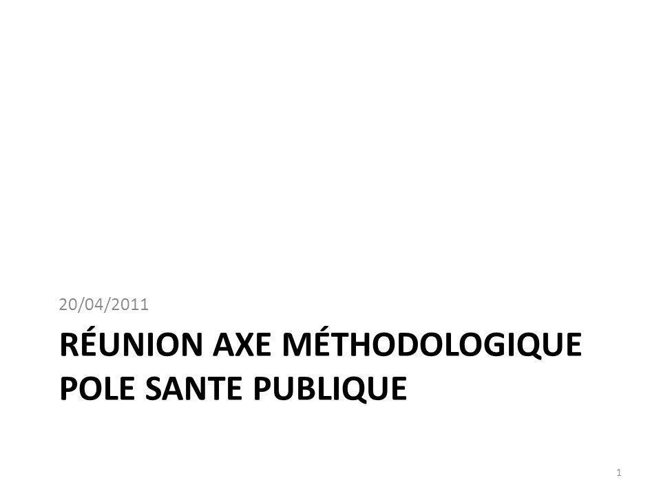 RÉUNION AXE MÉTHODOLOGIQUE POLE SANTE PUBLIQUE 20/04/2011 1