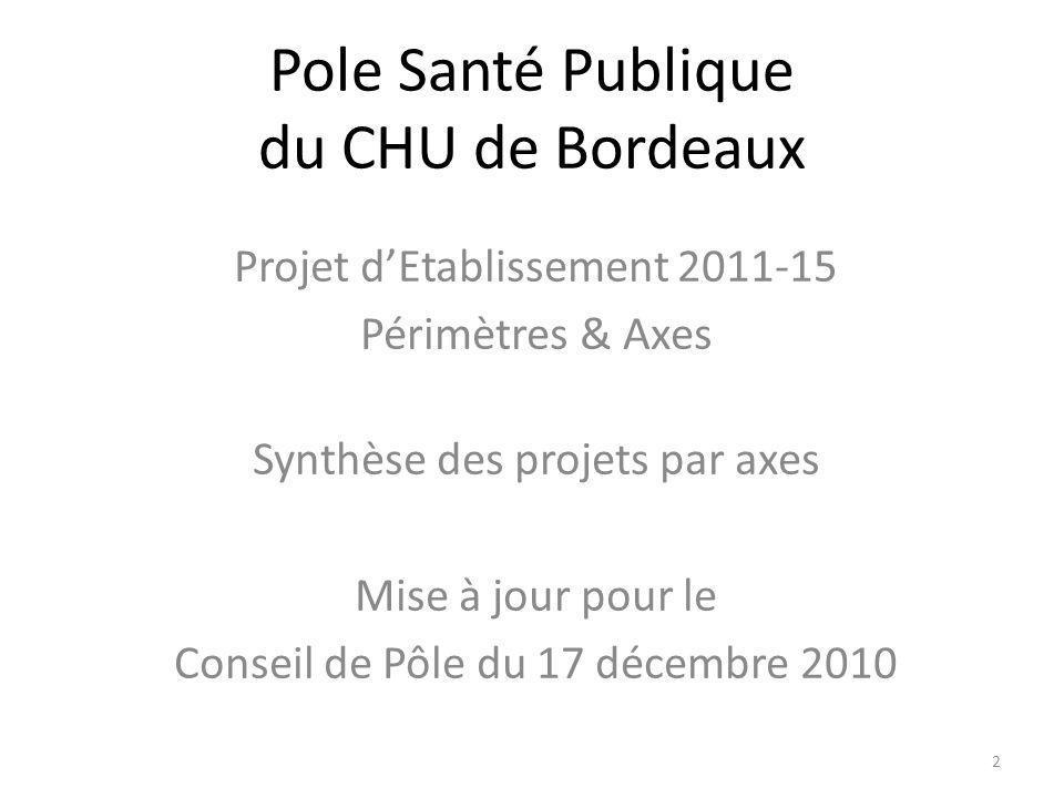 Pole Santé Publique du CHU de Bordeaux Projet dEtablissement 2011-15 Périmètres & Axes Synthèse des projets par axes Mise à jour pour le Conseil de Pôle du 17 décembre 2010 2