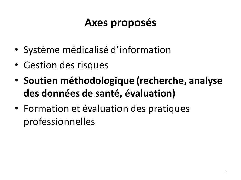 Axes proposés Système médicalisé dinformation Gestion des risques Soutien méthodologique (recherche, analyse des données de santé, évaluation) Formation et évaluation des pratiques professionnelles 4
