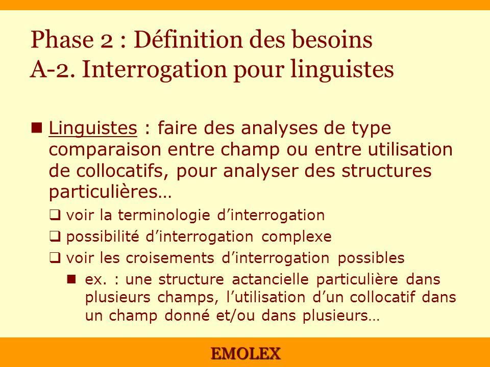 EMOLEX Phase 2 : Définition des besoins A-2. Interrogation pour linguistes Linguistes : faire des analyses de type comparaison entre champ ou entre ut