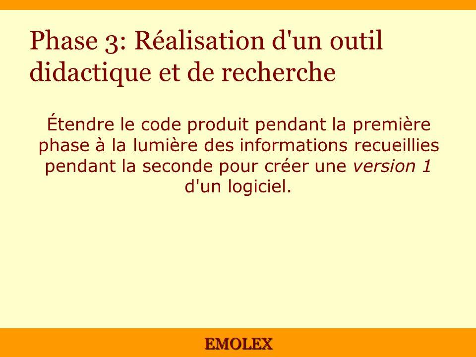 EMOLEX Phase 3: Réalisation d'un outil didactique et de recherche Étendre le code produit pendant la première phase à la lumière des informations recu