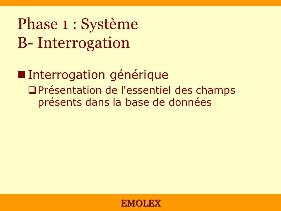 EMOLEX Phase 1 : Système B- Interrogation Interrogation générique Présentation de l'essentiel des champs présents dans la base de données