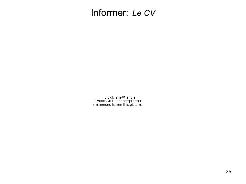 25 Informer: Le CV