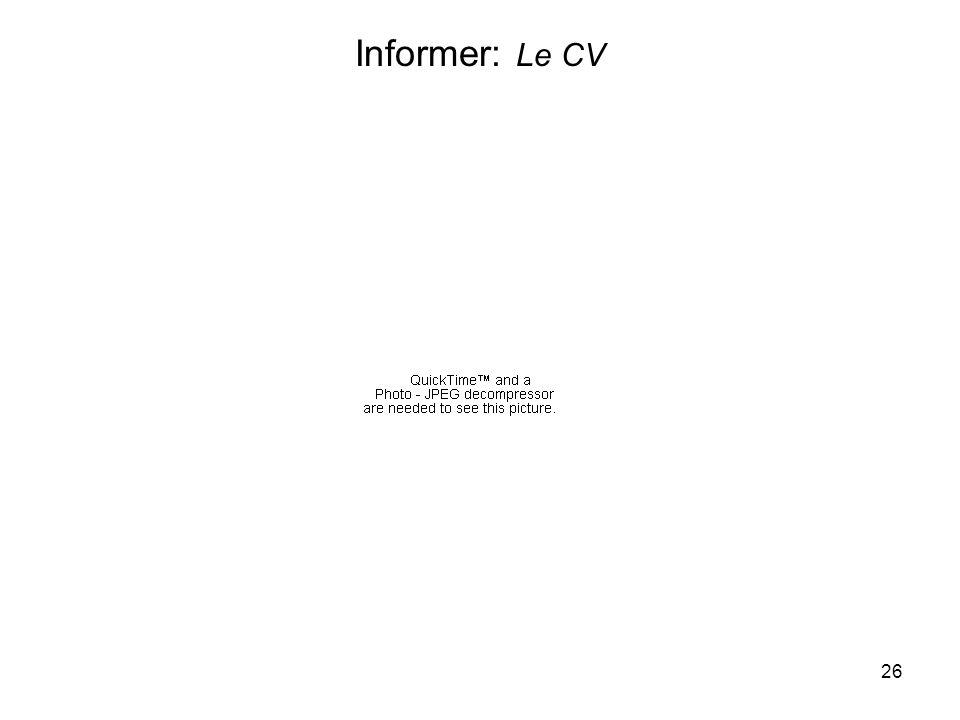 26 Informer: Le CV