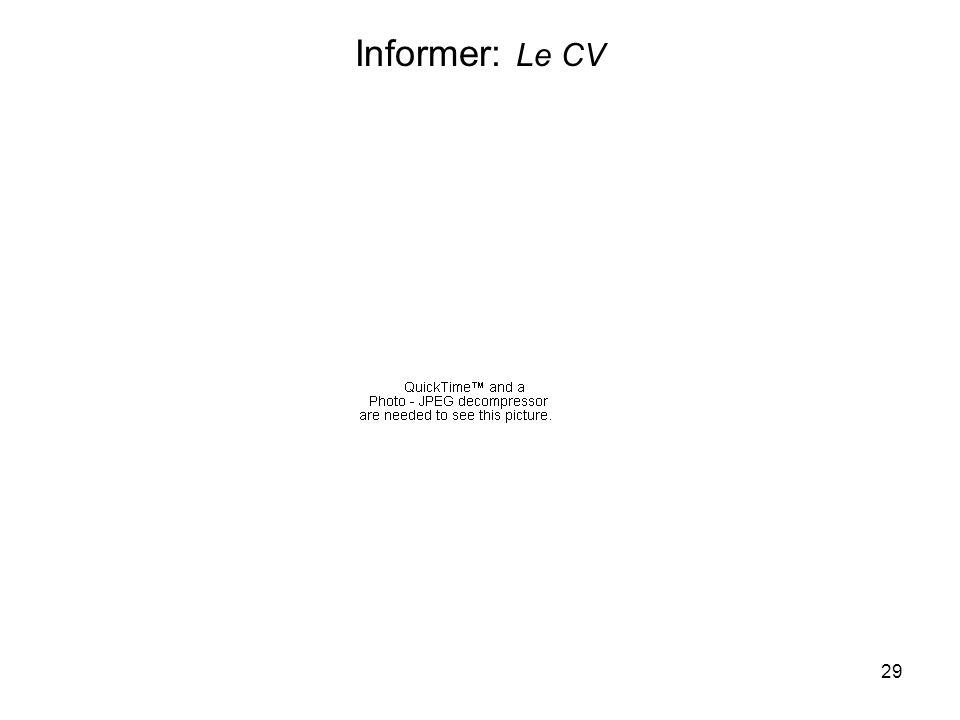 29 Informer: Le CV