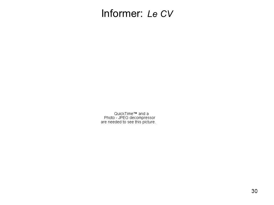 30 Informer: Le CV