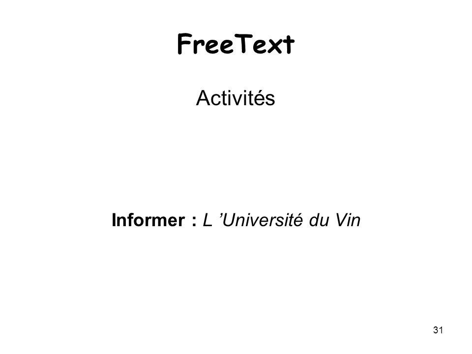 31 FreeText Activités Informer : L Université du Vin