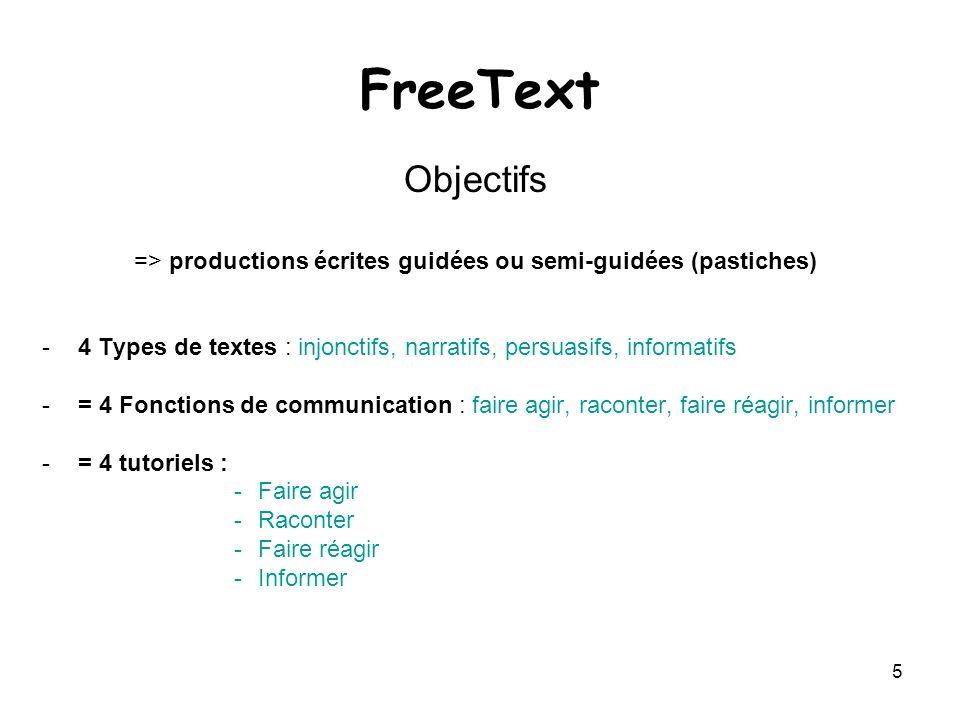 5 FreeText Objectifs => productions écrites guidées ou semi-guidées (pastiches) -4 Types de textes : injonctifs, narratifs, persuasifs, informatifs -=