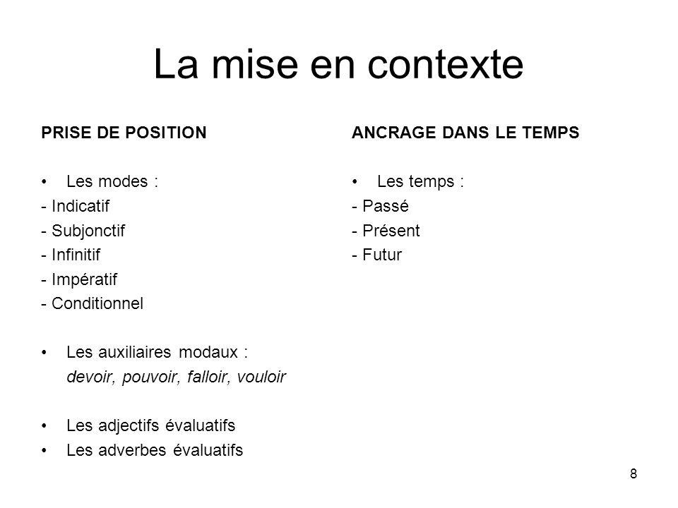 8 La mise en contexte PRISE DE POSITION Les modes : - Indicatif - Subjonctif - Infinitif - Impératif - Conditionnel Les auxiliaires modaux : devoir, p
