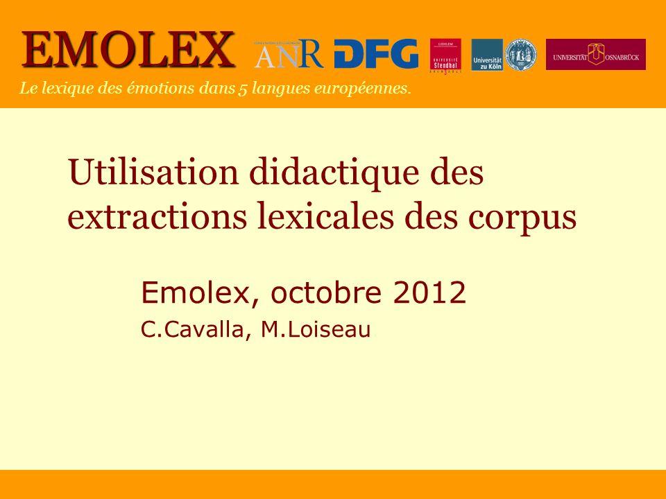 EMOLEX Le lexique des émotions dans 5 langues européennes. Utilisation didactique des extractions lexicales des corpus Emolex, octobre 2012 C.Cavalla,