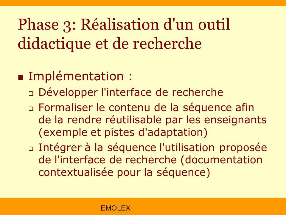 EMOLEX Phase 3: Réalisation d'un outil didactique et de recherche Implémentation : Développer l'interface de recherche Formaliser le contenu de la séq