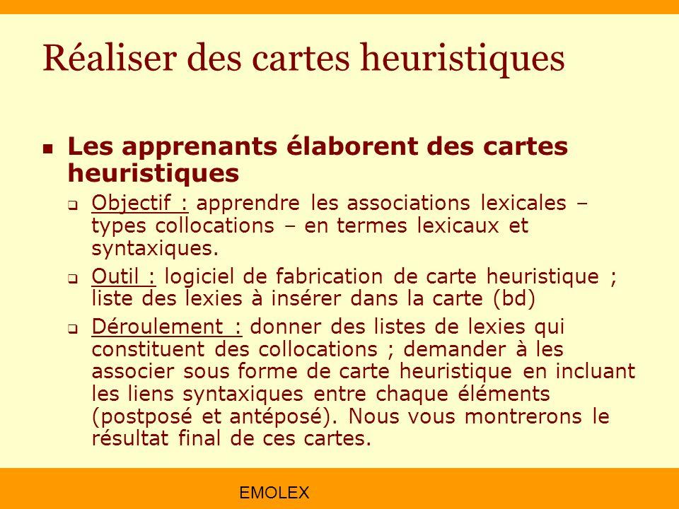 EMOLEX Réaliser des cartes heuristiques Les apprenants élaborent des cartes heuristiques Objectif : apprendre les associations lexicales – types collo