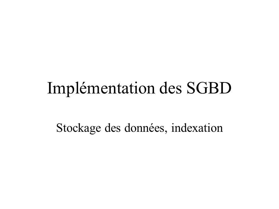 Implémentation des SGBD Stockage des données, indexation