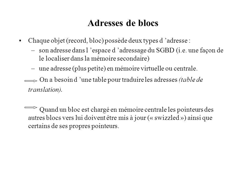 Adresses de blocs Chaque objet (record, bloc) possède deux types d adresse : –son adresse dans l espace d adressage du SGBD (i.e. une façon de le loca