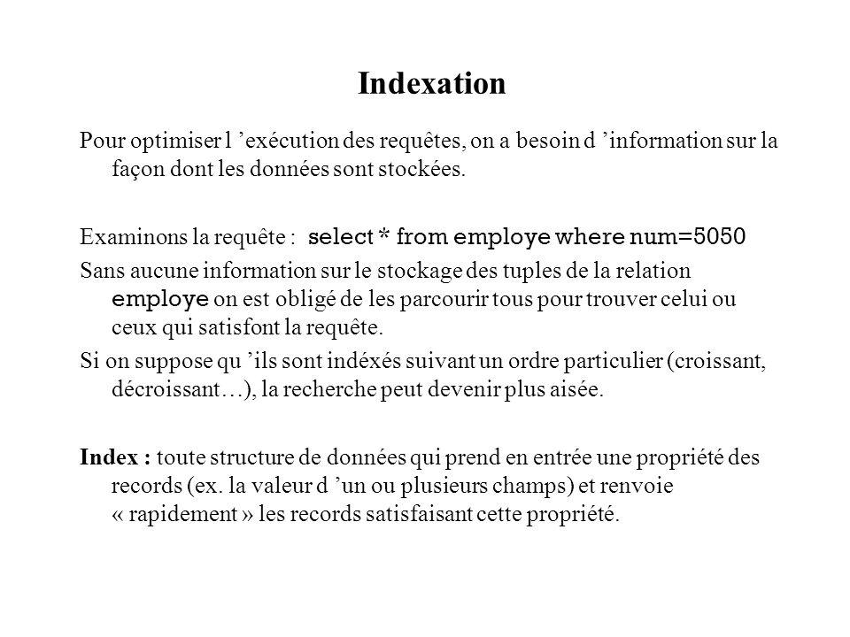 Indexation Pour optimiser l exécution des requêtes, on a besoin d information sur la façon dont les données sont stockées.