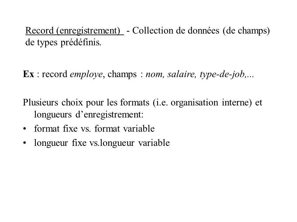 Record (enregistrement) - Collection de données (de champs) de types prédéfinis. Ex : record employe, champs : nom, salaire, type-de-job,... Plusieurs