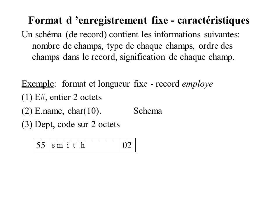 Format d enregistrement fixe - caractéristiques Un schéma (de record) contient les informations suivantes: nombre de champs, type de chaque champs, ordre des champs dans le record, signification de chaque champ.