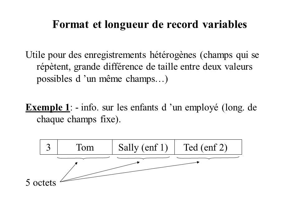 Format et longueur de record variables Utile pour des enregistrements hétérogènes (champs qui se répètent, grande différence de taille entre deux valeurs possibles d un même champs…) Exemple 1: - info.