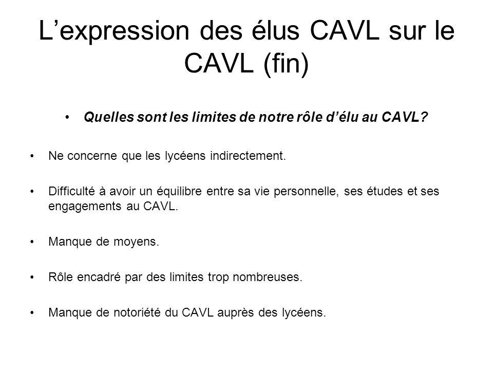 Lexpression des élus CAVL sur le CAVL (fin) Quelles sont les limites de notre rôle délu au CAVL? Ne concerne que les lycéens indirectement. Difficulté