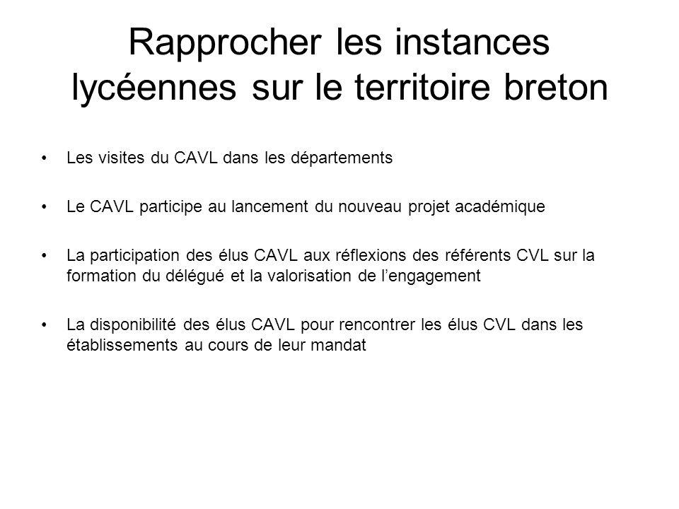 Rapprocher les instances lycéennes sur le territoire breton Les visites du CAVL dans les départements Le CAVL participe au lancement du nouveau projet