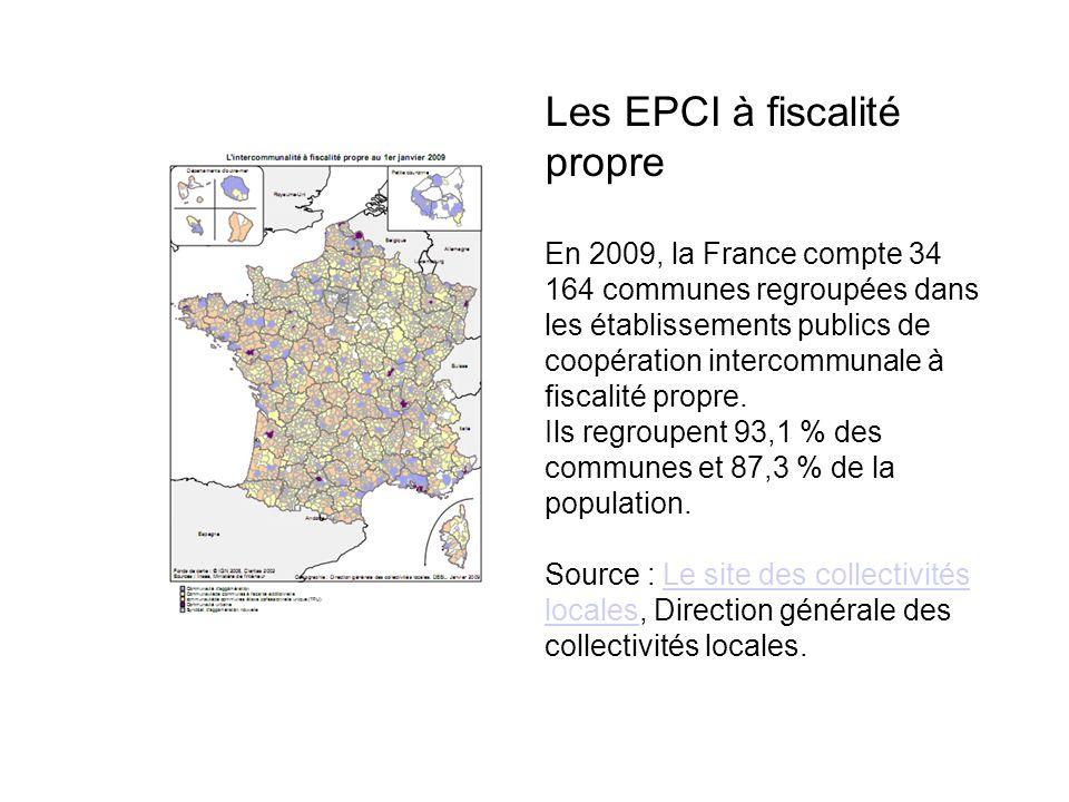 Les EPCI à fiscalité propre En 2009, la France compte 34 164 communes regroupées dans les établissements publics de coopération intercommunale à fiscalité propre.