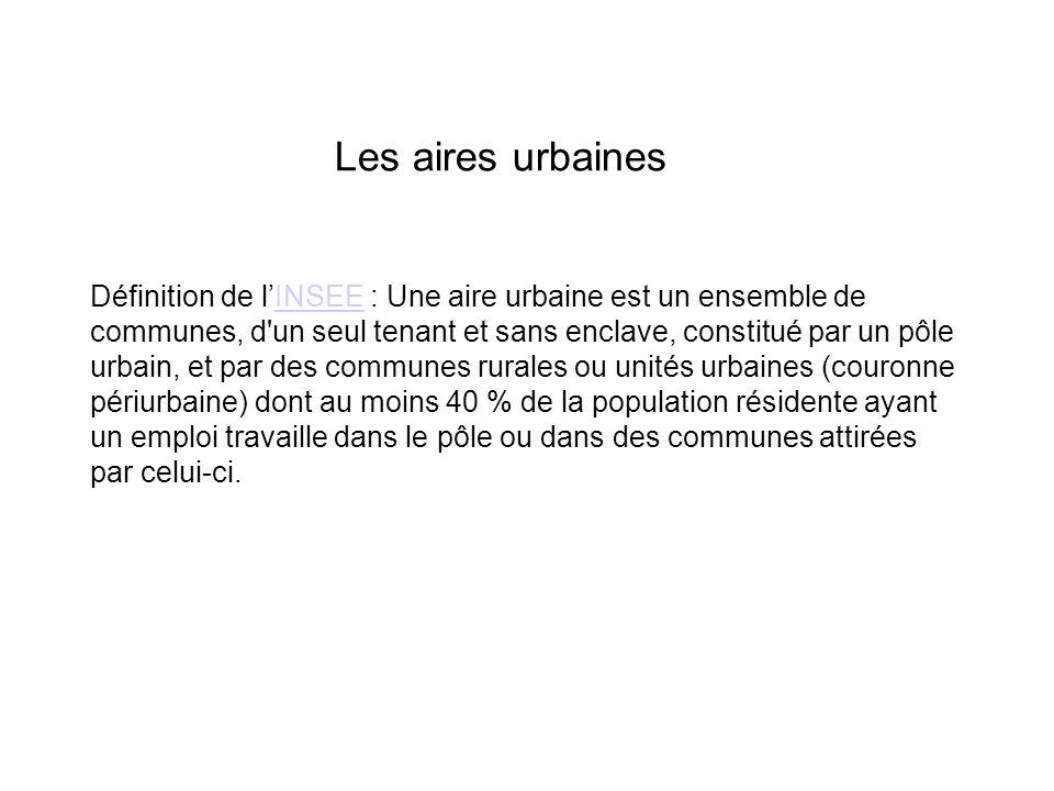 Les aires urbaines Définition de lINSEE : Une aire urbaine est un ensemble de communes, d un seul tenant et sans enclave, constitué par un pôle urbain, et par des communes rurales ou unités urbaines (couronne périurbaine) dont au moins 40 % de la population résidente ayant un emploi travaille dans le pôle ou dans des communes attirées par celui-ci.INSEE