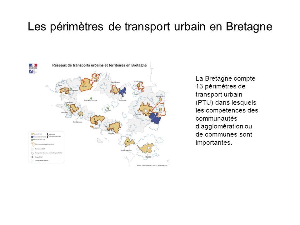 Les périmètres de transport urbain en Bretagne La Bretagne compte 13 périmètres de transport urbain (PTU) dans lesquels les compétences des communautés dagglomération ou de communes sont importantes.