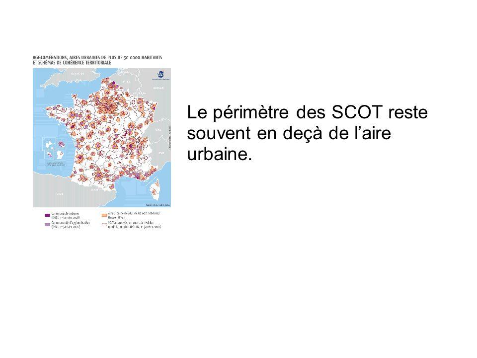 Le périmètre des SCOT reste souvent en deçà de laire urbaine.
