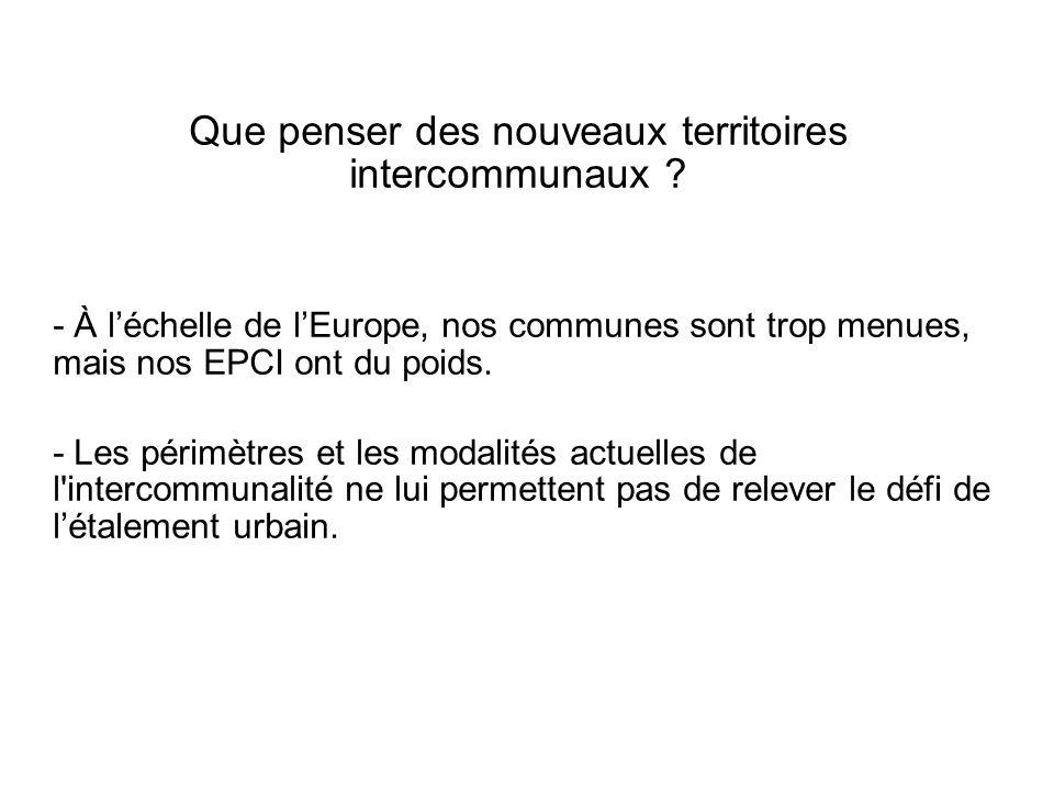 Que penser des nouveaux territoires intercommunaux ? - À léchelle de lEurope, nos communes sont trop menues, mais nos EPCI ont du poids. - Les périmèt