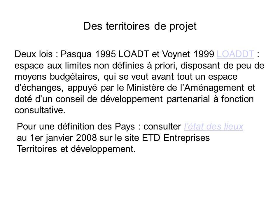Des territoires de projet Deux lois : Pasqua 1995 LOADT et Voynet 1999 LOADDT : espace aux limites non définies à priori, disposant de peu de moyens b