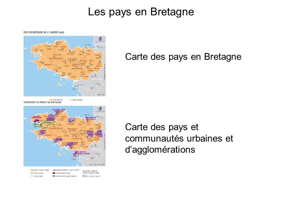Les pays en Bretagne Carte des pays en Bretagne Carte des pays et communautés urbaines et dagglomérations