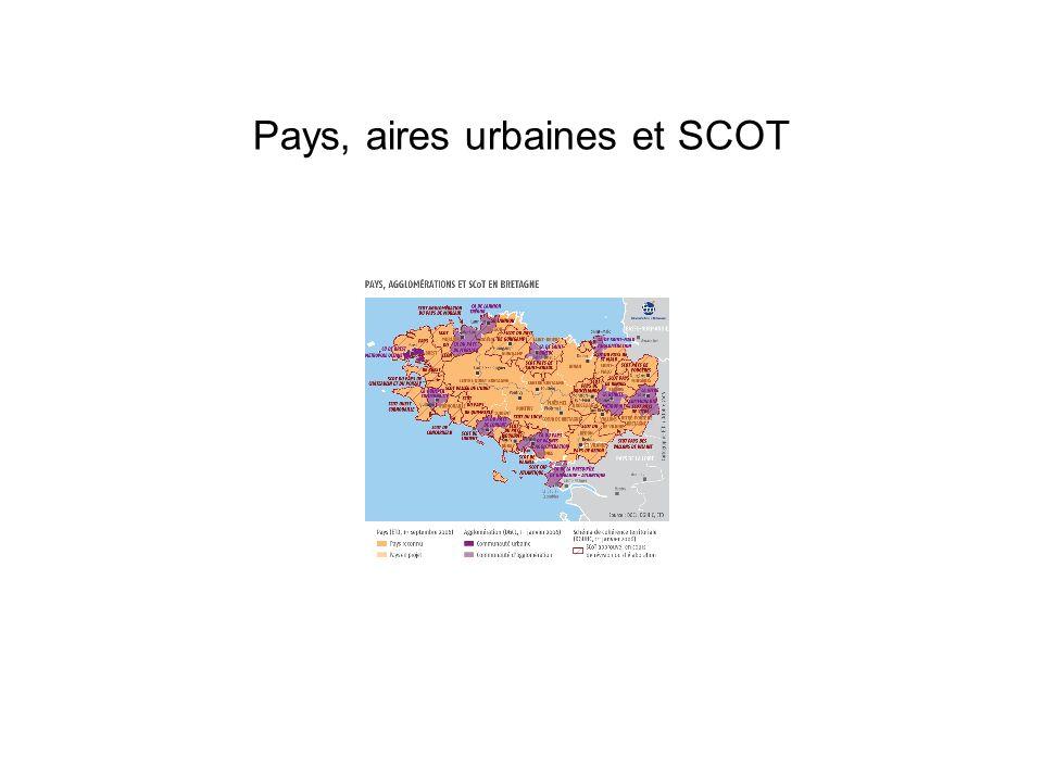 Pays, aires urbaines et SCOT