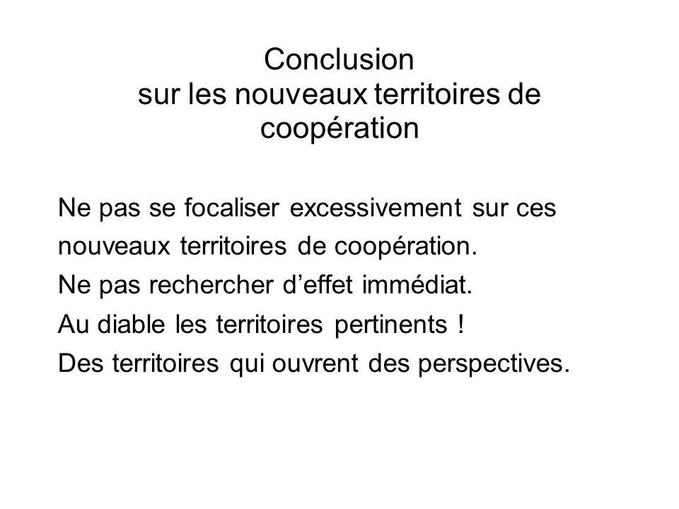 Conclusion sur les nouveaux territoires de coopération Ne pas se focaliser excessivement sur ces nouveaux territoires de coopération.
