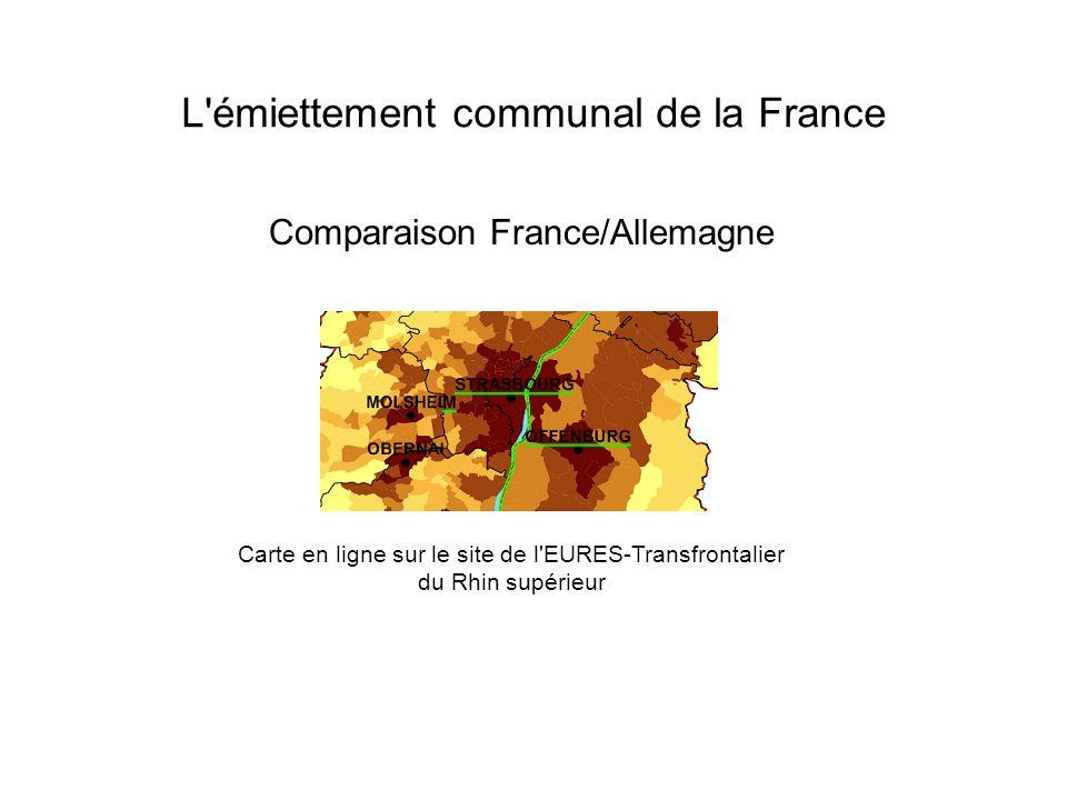 L'émiettement communal de la France Carte en ligne sur le site de l'EURES-Transfrontalier du Rhin supérieur Comparaison France/Allemagne