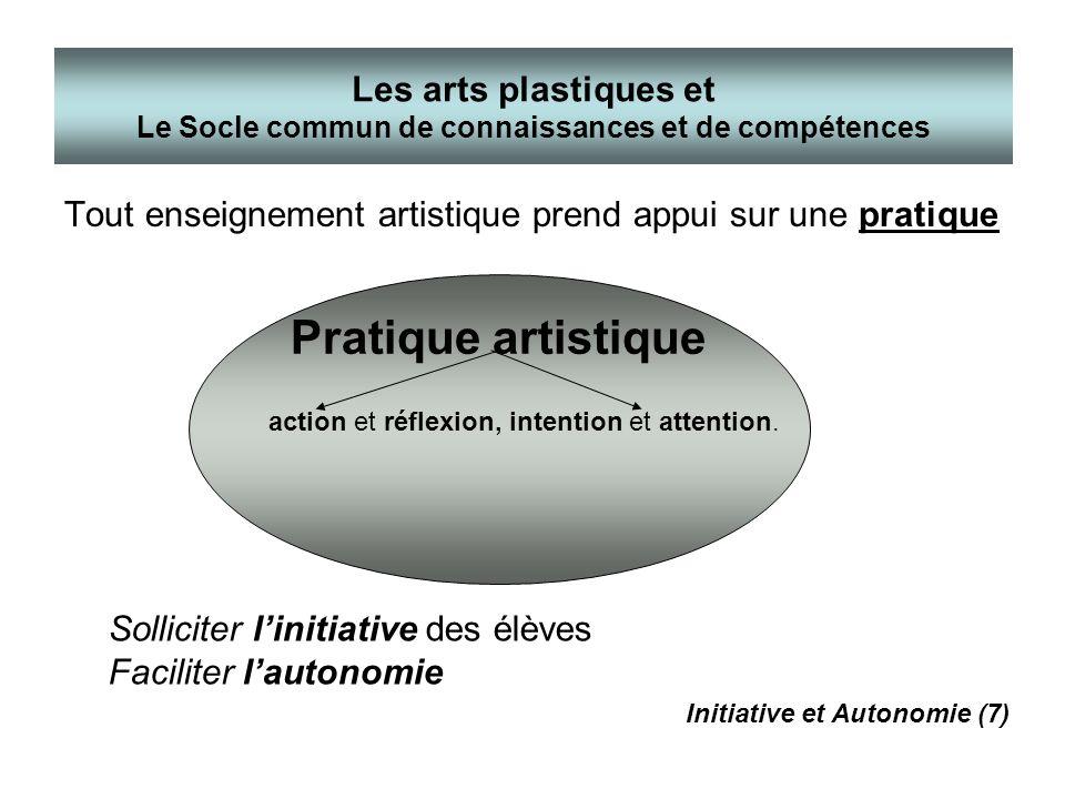 Tout enseignement artistique prend appui sur une pratique Les arts plastiques et Le Socle commun de connaissances et de compétences Pratique artistiqu