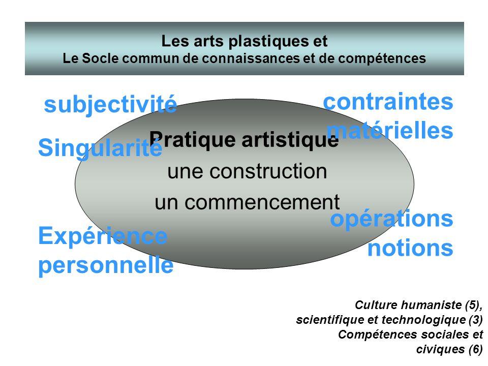 Les arts plastiques et Le Socle commun de connaissances et de compétences Pratique artistique une construction un commencement subjectivité Singularit