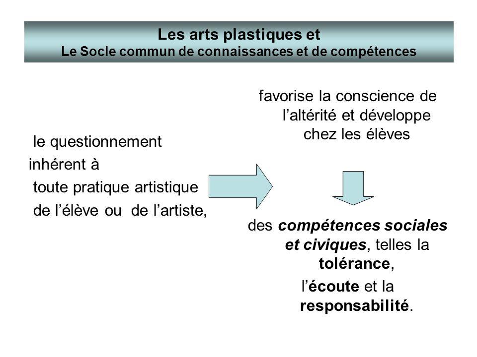 le questionnement inhérent à toute pratique artistique de lélève ou de lartiste, favorise la conscience de laltérité et développe chez les élèves des