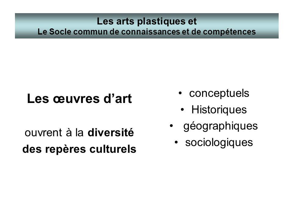 Les œuvres dart ouvrent à la diversité des repères culturels conceptuels Historiques géographiques sociologiques Les arts plastiques et Le Socle commu