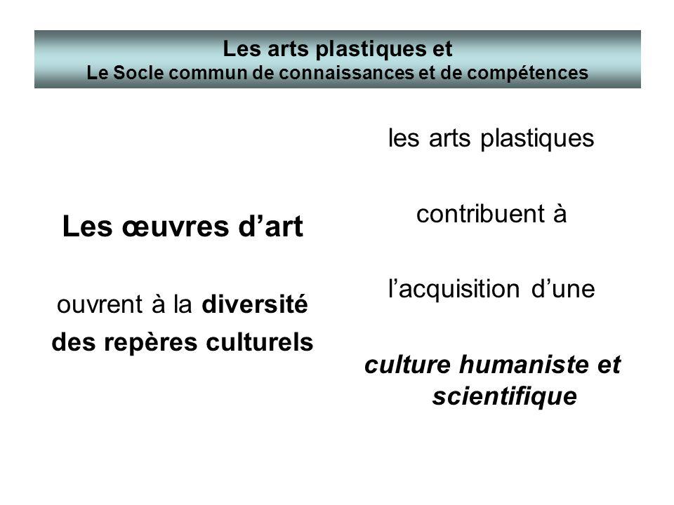 Les œuvres dart ouvrent à la diversité des repères culturels les arts plastiques contribuent à lacquisition dune culture humaniste et scientifique Les