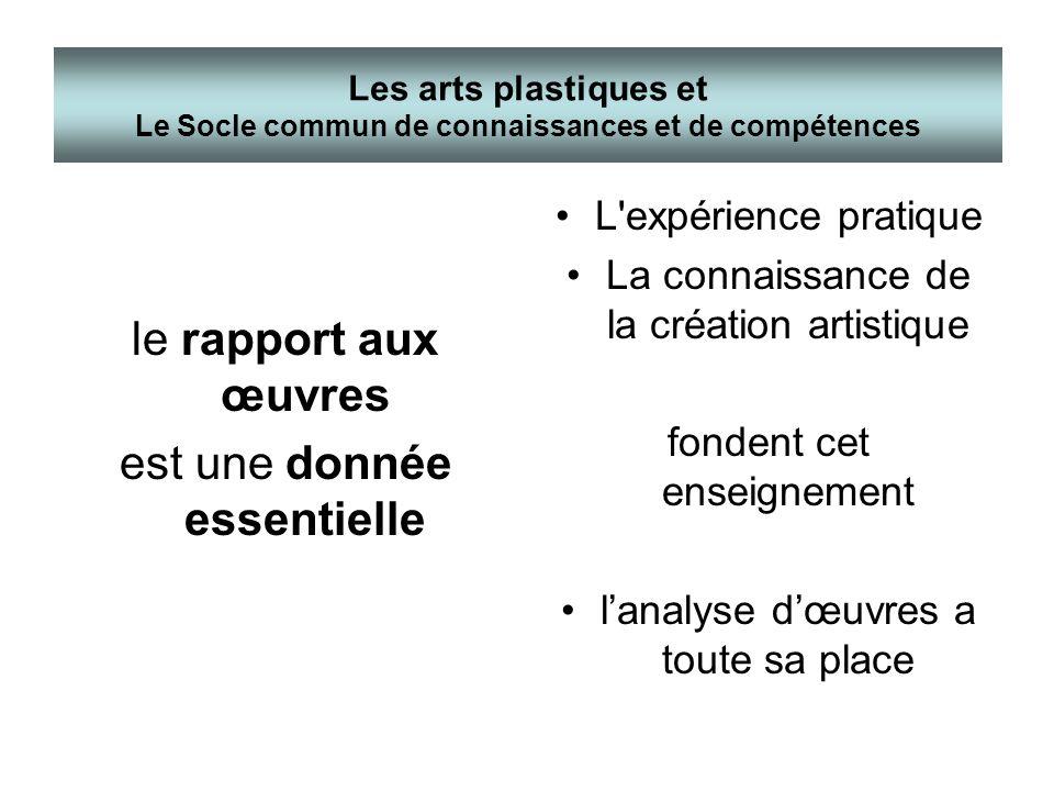 le rapport aux œuvres est une donnée essentielle L'expérience pratique La connaissance de la création artistique fondent cet enseignement lanalyse dœu