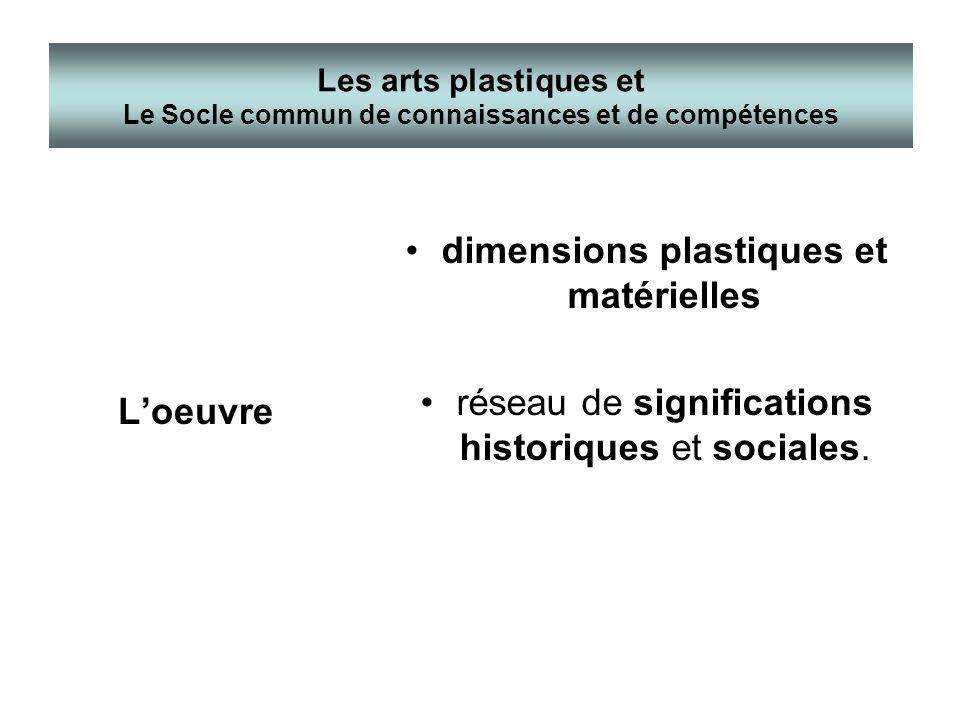 Loeuvre dimensions plastiques et matérielles réseau de significations historiques et sociales. Les arts plastiques et Le Socle commun de connaissances