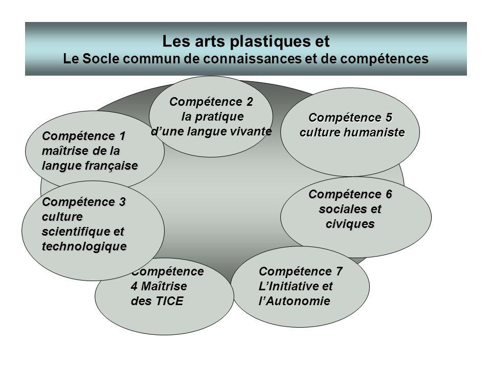 Les arts plastiques et Le Socle commun de connaissances et de compétences Compétence 1 maîtrise de la langue française Compétence 2 la pratique dune l