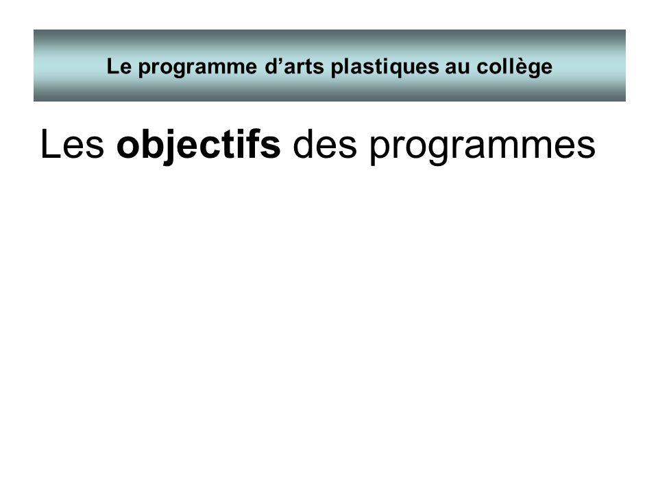 Les objectifs des programmes Le programme darts plastiques au collège