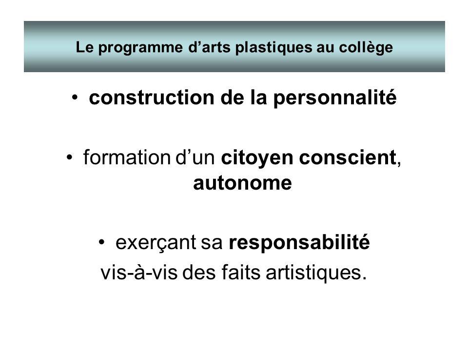 construction de la personnalité formation dun citoyen conscient, autonome exerçant sa responsabilité vis-à-vis des faits artistiques. Le programme dar