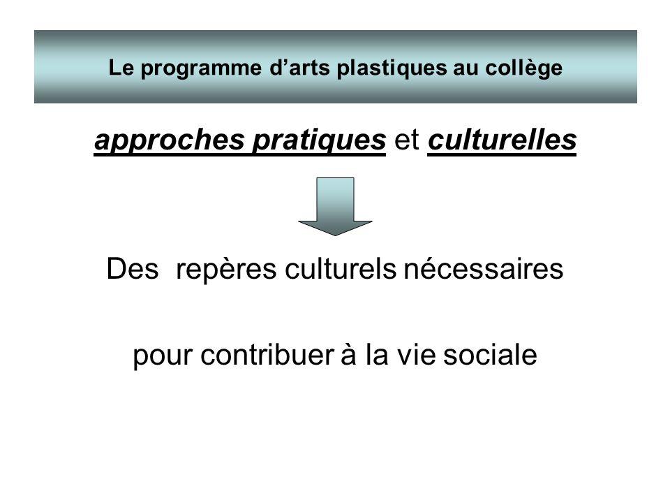 approches pratiques et culturelles Des repères culturels nécessaires pour contribuer à la vie sociale Le programme darts plastiques au collège