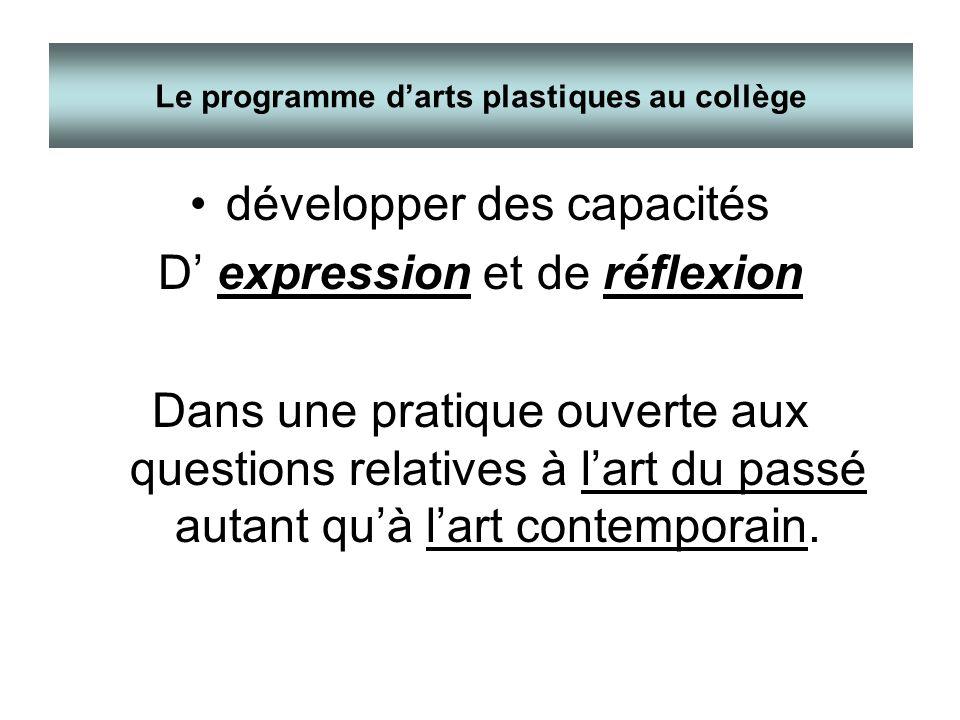 développer des capacités D expression et de réflexion Dans une pratique ouverte aux questions relatives à lart du passé autant quà lart contemporain.