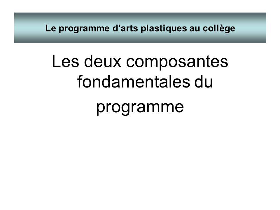 Les deux composantes fondamentales du programme Le programme darts plastiques au collège