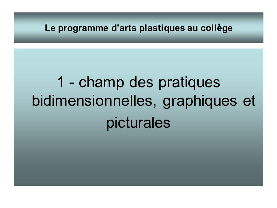 1 - champ des pratiques bidimensionnelles, graphiques et picturales Le programme darts plastiques au collège