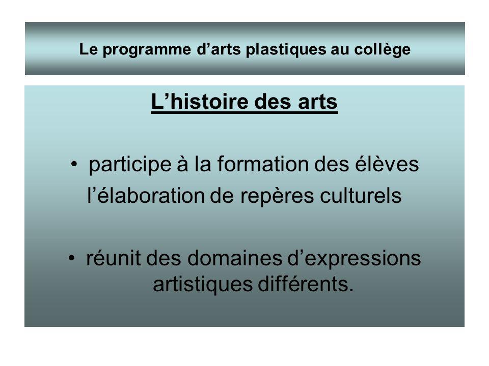Lhistoire des arts participe à la formation des élèves lélaboration de repères culturels réunit des domaines dexpressions artistiques différents. Le p